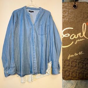Earl Jeans | NWT Chambray Shirt W Lace Detail 2X